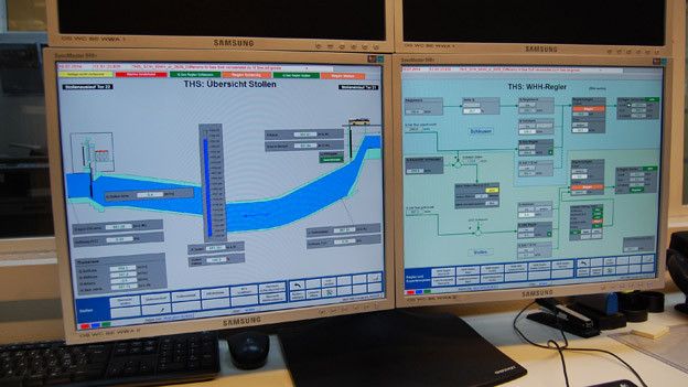 So sieht der Thuner Hochwasserstollen auf dem Bildschirm des Schleusenwärters aus