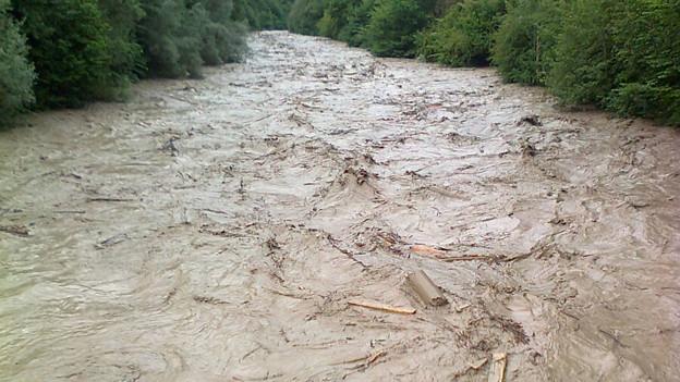 Die Flut aus der Emme konnte in der Aare aufgefangen werden.