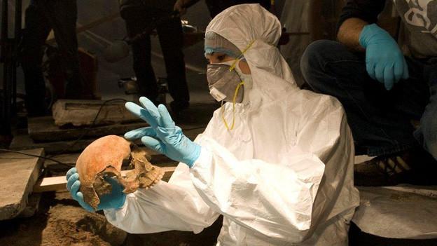 Eine Archäologin erläutert ihren Schädelfund.