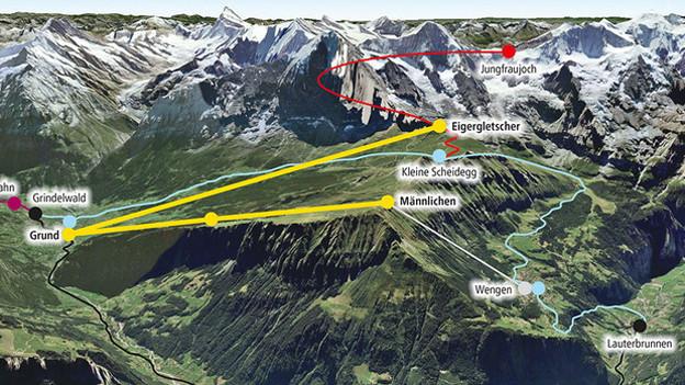 Die geplante V-Bahn der Jungfraubahnen.