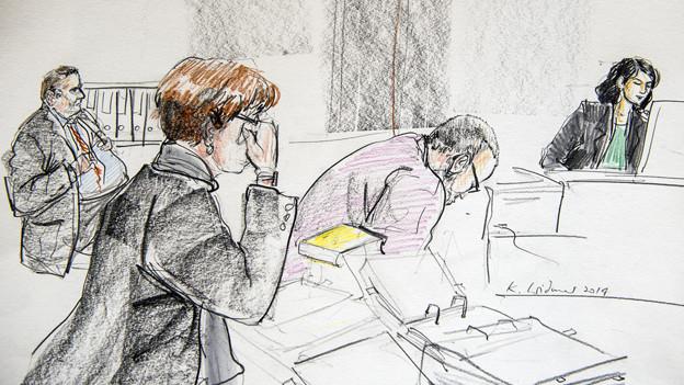 Gerichtszeichnung aus dem Prozess mit dem ehemaligen Schulzozialarbeiter, 2. von rechts.