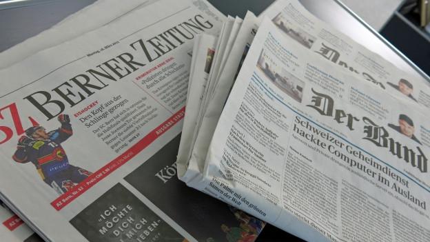 Die Titelseiten von «Der Bund» und «Berner Zeitung» sind vergeben..