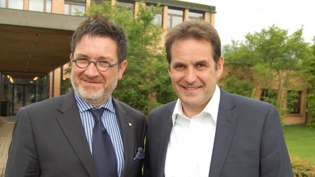 Vergnügte Touristiker: Stefan Otz (links) und Marcel Furer.