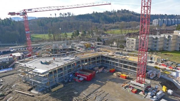 Im Stöckacker werden drei neue Gebäude gebaut.