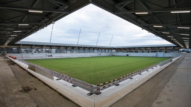Blick ins neue Bieler Fussballstadion im Dezember 2014