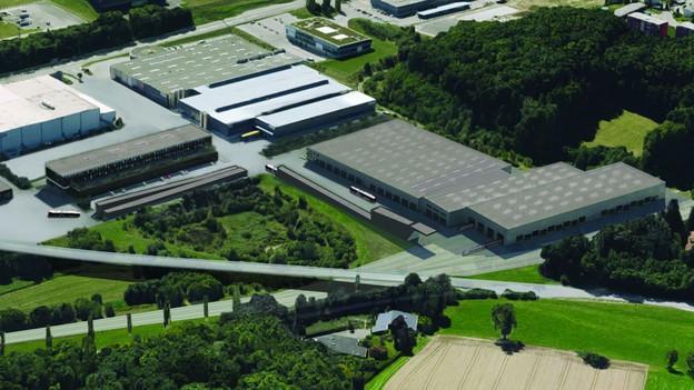 Modellbild: neue, flache, grosse Gebäude aus der Vogelperspektive.