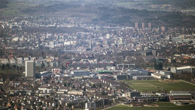 Luftbild der Agglomeration Bern.