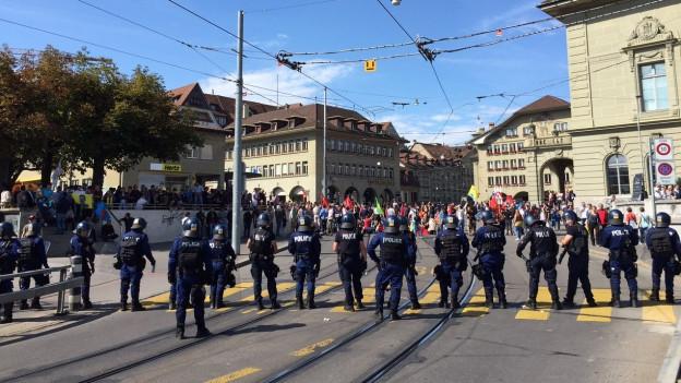 Polizeieinsatz bei Demonstration.