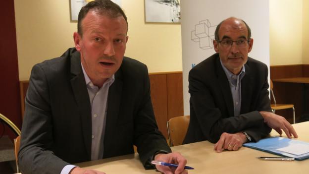FDP-Präsident Didier Castella (links) und Ständeratskandidat Jacques Bourgeois.