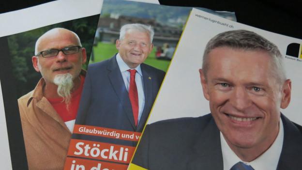 Bruno Moser mit den Ständeräten Hans Stöckli und Werner Luginbühl (v.l.) - diese drei gehen in den zweiten Wahlgang.