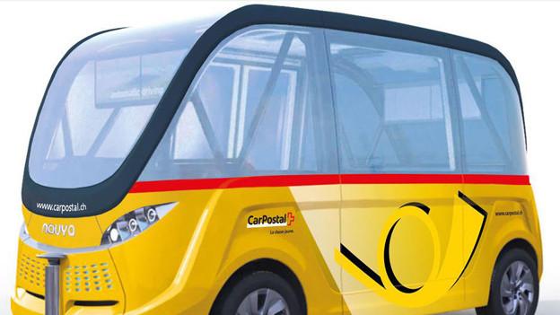 So könnte ein vollautomatisches Mini-Postauto aussehen