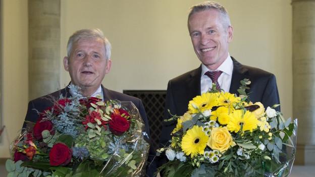 Hans Stöckli und Werner Luginbühl konnten nach der Wahl Gratulationen entgegennehmen.