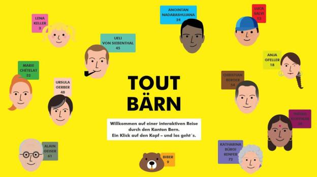 «Tout Bärn» – alles Bern: Zu jeder Figur gibt es eine Geschichte, mit Fakten und Zahlen über den Kanton Bern.