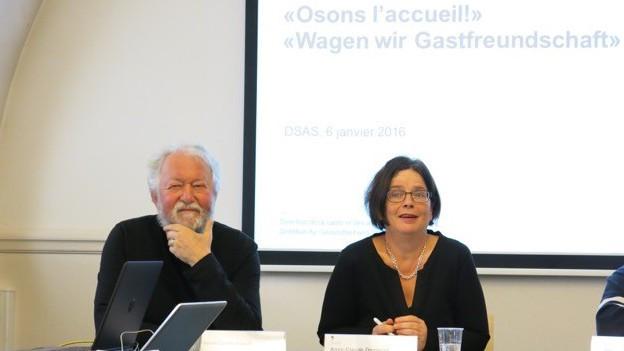 Staatsrätin Anne-Claude Demierre (SP) und ihr ehemaliger Kollege Pascal Corminboeuf (bis 2011, parteilos).