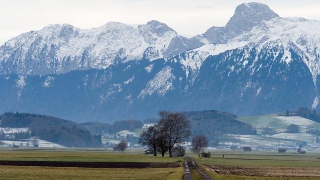 Das landwirtschaftlich intensiv genutze Gürbetal bei Bern.