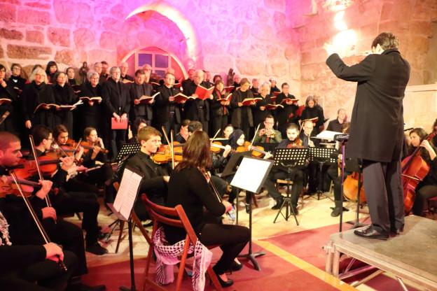 Der Singkreis Wohlen bei den Proben in der Geburtskirche Jesu Christi in Palästina.