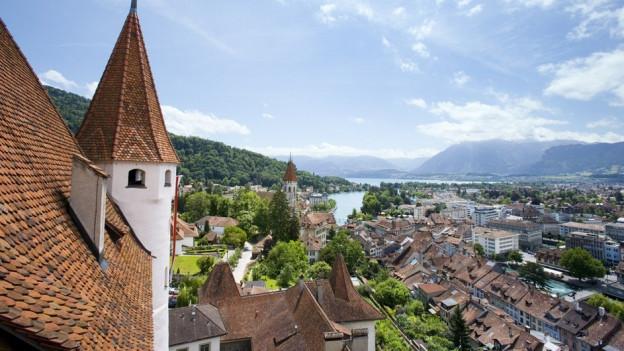 Blick vom Schloss Richtung See.