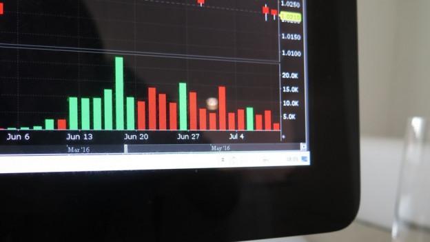 Das Bild zeigt einen Computer, darauf sind rote und grüne Aktienkurse