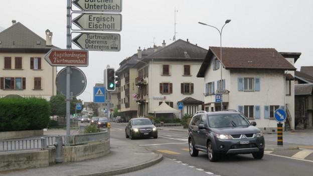 Blick auf die Kantonsstrasse durch Turtmann