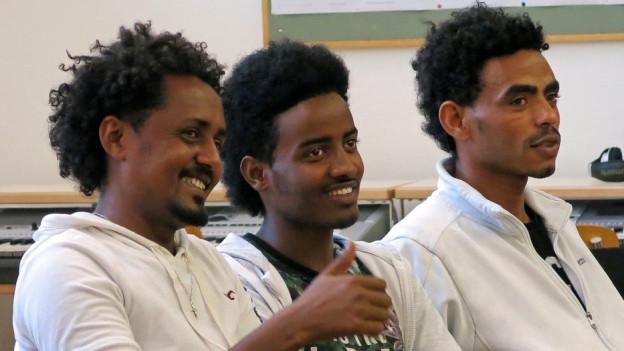Eritreer an der Chorprobe für das Projekt «Musik ohne Grenzen»