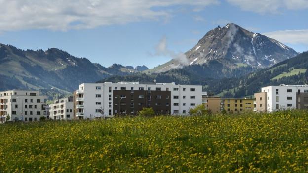 Wohnhäuser in der Stadt Bulle, im Hintergrund der Moléson.
