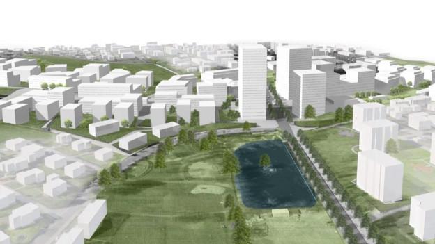 Die Autobahn, welche horizontal zwischen den möglichen neuen Gebäuden verläuft, wäre verschwunden.