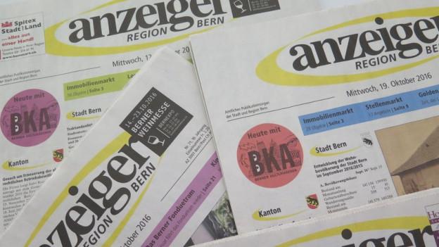 Der Anzeiger Region Bern hat damit zu kämpfen, dass das Inseratevolumen stetig abnimmt.