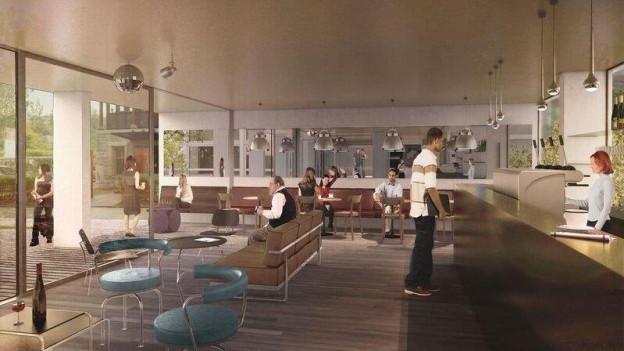So wird es aussehen, wenn die Renovation beendet ist: Blick in den Bar- und Loungebereich der neuen Jugendherberge in Bern.