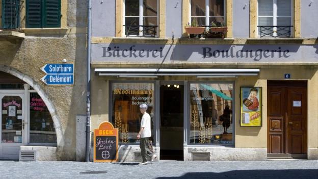 Zweisprachig angeschriebene Bieler Bäckerei.