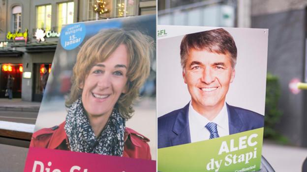 Ursula Wyss und Alec von Graffenried sich schon seit Wochen in der Stadt Präsent – vor allem auf Plakaten.