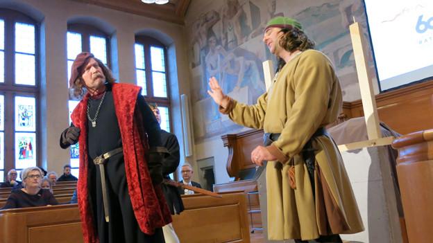 Historische Figuren zum Rathaus-Jubiläum Bern.