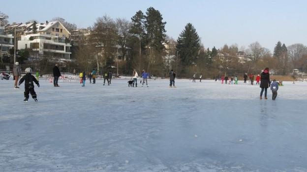 Viele Leute tummeln sich auf dem gefrorenen Egelsee.