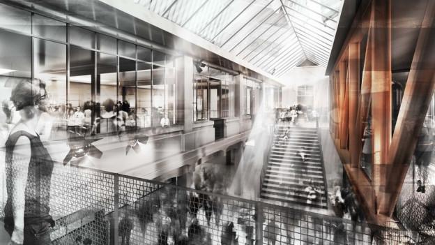 So könnte die neue Markthalle in Bern aussehen.