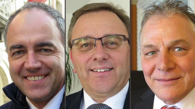 v.l.n.r Christophe Darbellay, Jacques Melly, Roberto Schmidt.