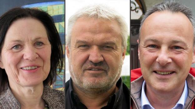Esther Waeber, Stéphane Rossini und Jean-Michel Bonvin wollen in die Walliser Regierung.