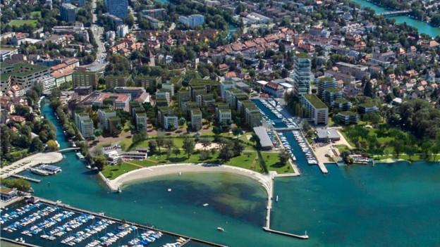 Übersicht über das neue Quartier am Bielersee.