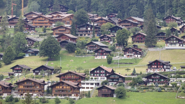 Blick auf Chalets in Grindelwald.