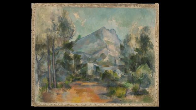 Altes Gemälde mit Berglandschaft.