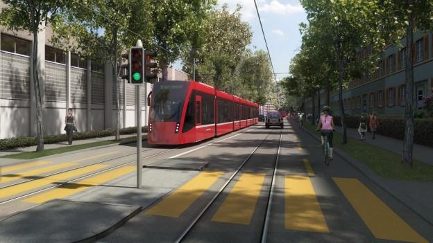 So könnte es aussehen: das Tram in der Viktoriastrasse.