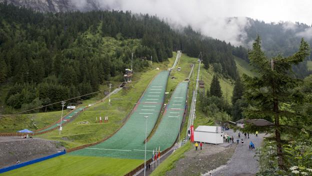 Die Skisprung-Schanzen von Kandersteg.