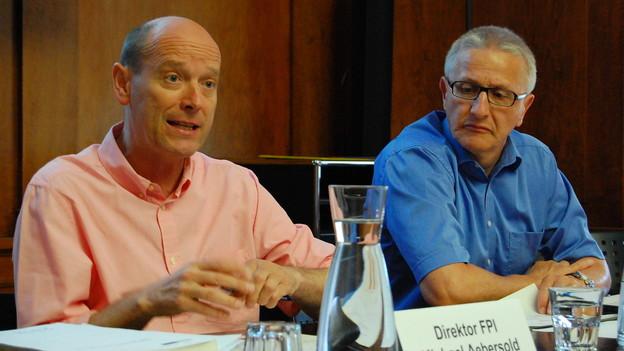 Gratwanderung an der Schuldenfalle: Finanzdirektor Michael Aebersold (llinks), Finanzverwalter Daniel Schaffner.