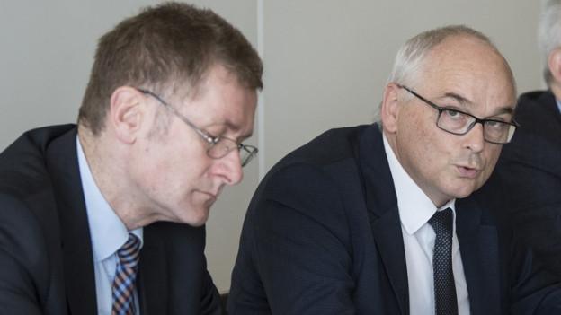 Christoph Neuhaus (li.) und Pierre Alain Schnegg wolle es noch einmal wissen.