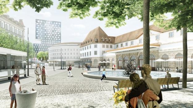 Kein Vordach, kein Kiosk, dafür der Tinguely-Brunnen: der neue Bahnhofplatz.
