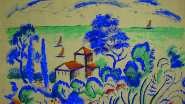 Eine Zeichnung mit grünem Meer, blauen Bäumen und roten Häusern