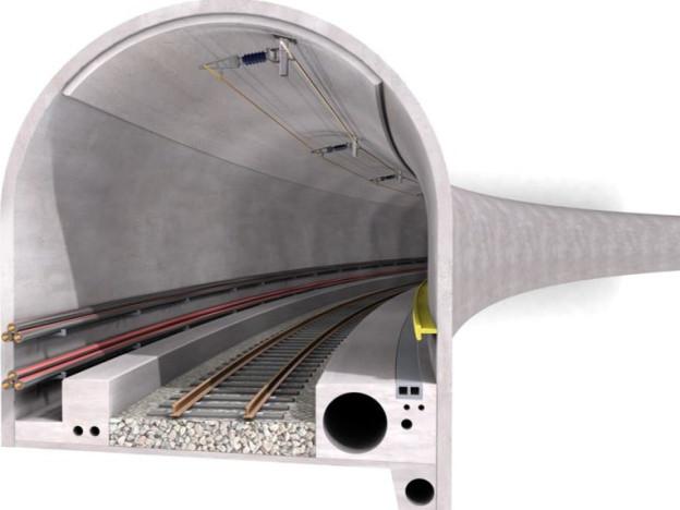 Bahnlinie und Höchstspannungsleitung im gleichen Tunnel. Diese Variante steht immer noch im Vordergrund.
