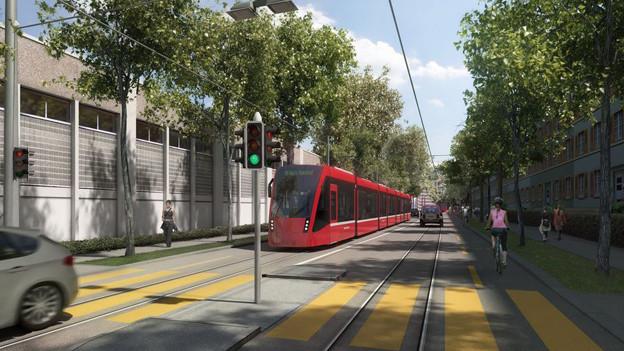 Visualisierung des Trams Bern-Ostermundigen.