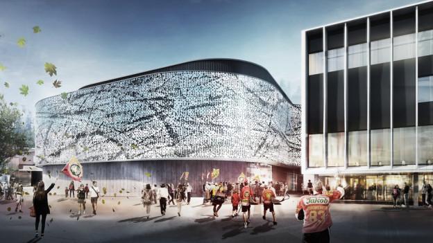 So soll der Neubau mit dem zweiten Eisfeld, einer Trainingshalle und einem Restaurant aussehen.