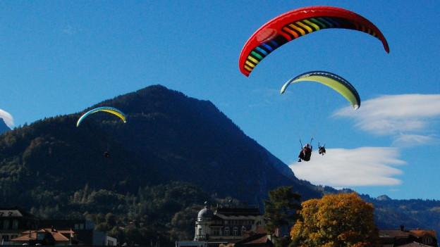 Drei Gleitschirme in der Luft, blauer Himmel, im Hintergrund ein Hügel