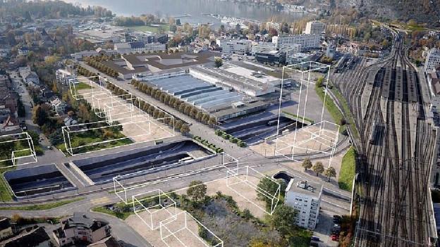 Visualisierung offener Autobahnanschluss in Biel.