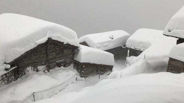 Grosse Schneemassen in der Region Zermatt.